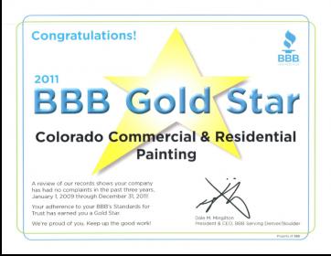 Better Business Bureau Gold Star Award