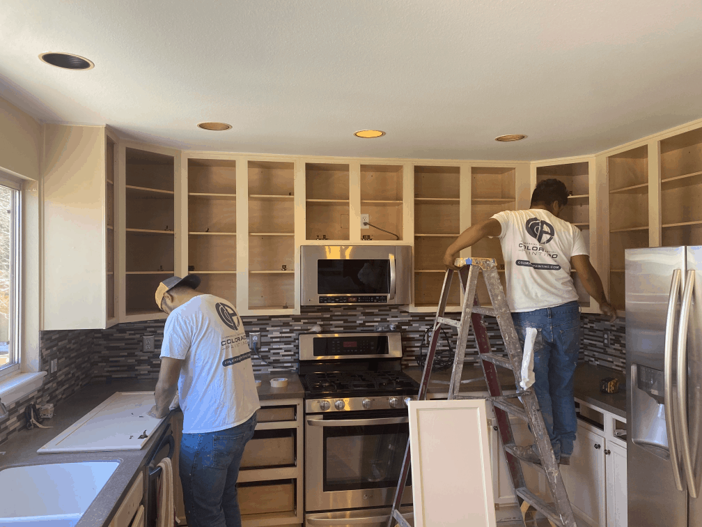 Interior home painting of cabinets